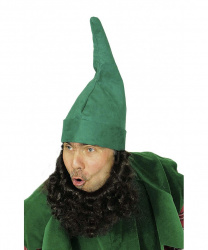 Зеленый колпак гнома с коричневой бородой