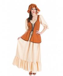 Средневековое коричневое платье