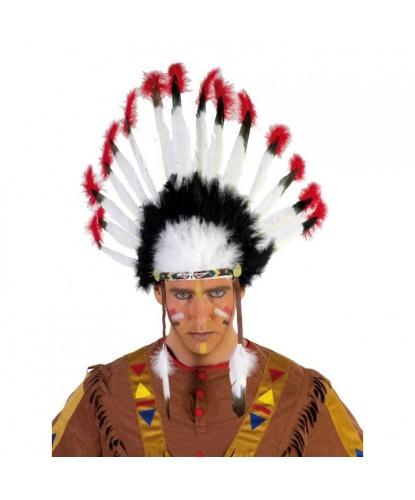 Головной убор индейского воина: черный, белый, красный (Германия)