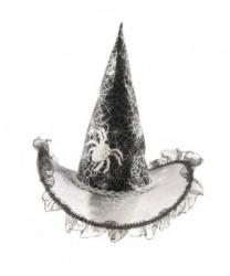 Колпак ведьмы с серебряной паутиной детский