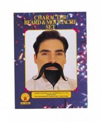 Закрученные усы и борода (черные)