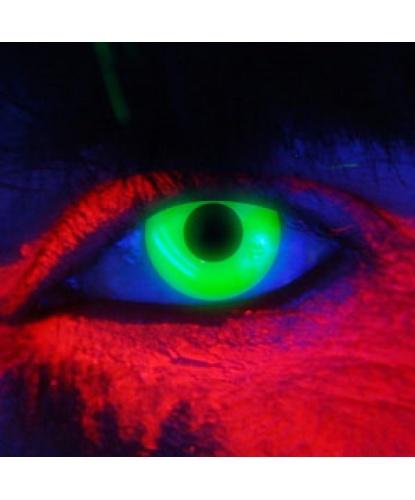 Линзы зеленые светятся в УФ, без диоптрий, срок ношения 90 дней (Англия)