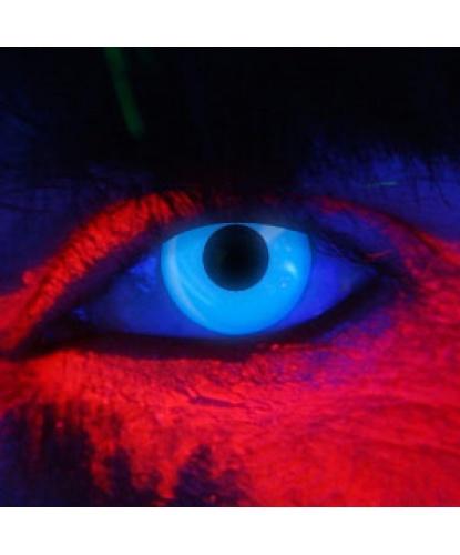 Линзы синие светятся в УФ, без диоптрий, срок ношения 90 дней (Великобритания)