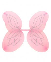 Розовые крылья с серебряными блестками