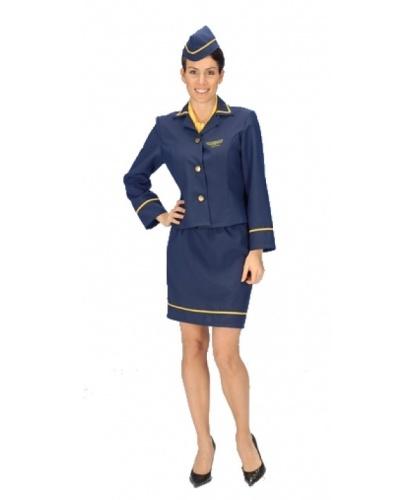 Костюм стюардессы: головной убор, пиджак, шарф, юбка (Германия)