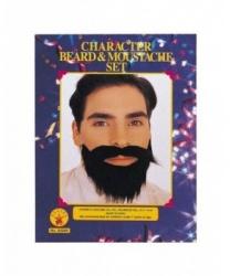 Черные усы и борода