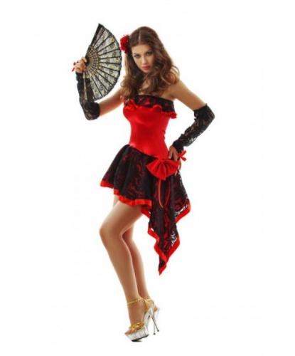 Костюм Кармен: перчатки, платье, украшение на голову, веер (Китай)
