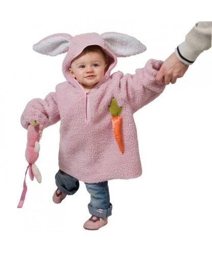 Розовый костюм кролика для малышей: кофта с капюшоном (Германия)