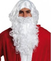 Седые борода и парик Санта Клауса