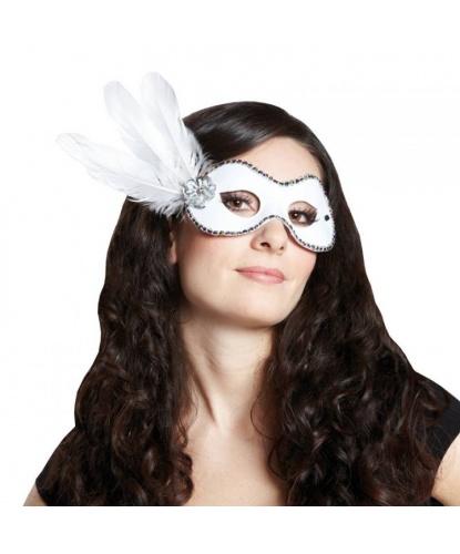 Белая маска с перьями, поливинилхлорид, перья (Германия)