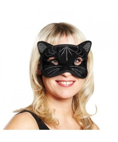 Маска черной кошки, полиэстер, стразы (Германия)