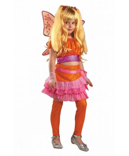 Костюм феи Winx Стелла: крылья, парик, топик, украшение, юбка (Россия)