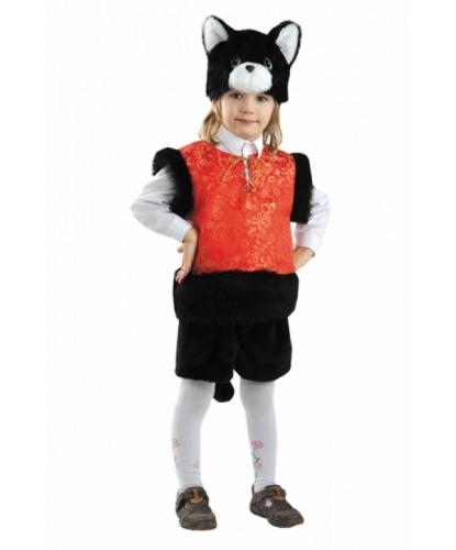 Детский костюм черного кота: головной убор, жилетка, шорты (Россия)