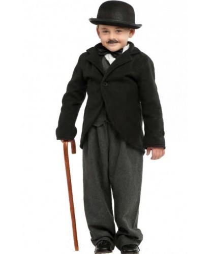 Детский костюм Чарли Чаплина: бабочка, брюки, жилетка, котелок, пиджак, рубашка, трость, усы (Италия)