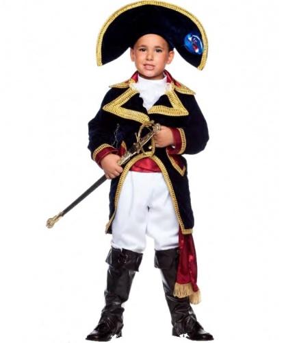 Костюм Наполеона детский: брюки, головной убор, накладка на сапоги, пояс, рубашка, фрак (Италия)