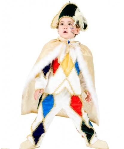Детский костюм Арлекин: брюки, воротник, кофта, накидка, накладки на туфли, шляпа (Италия)
