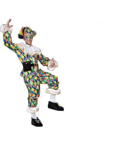 Костюм Арлекин на взрослого: брюки, воротник, гетры, головной убор, маска, накладки на обувь, пояс, рубашка, сумочка (Италия)