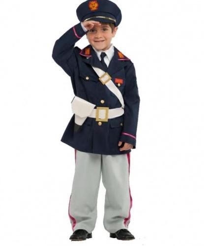 Костюм маленького полицейского: брюки, галстук, китель, пояс, рубашка, фуражка, пистолет (Италия)