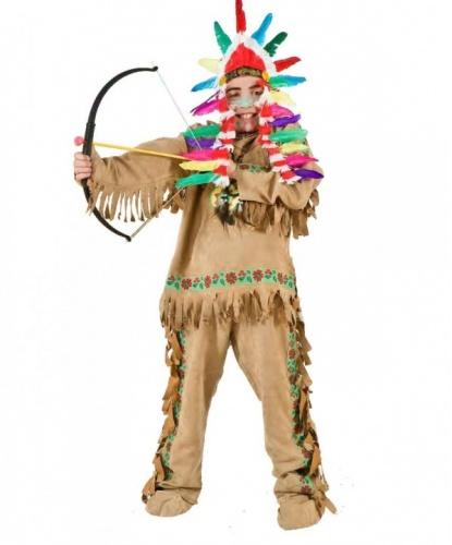 Детский костюм индейца:  кофта, накладки на обувь, штаны, головной убор (Италия)