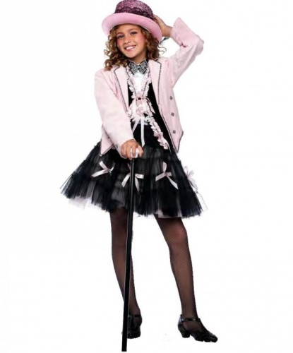 Костюм кабаре: бабочка, жилетка, пиджак, рубашка, трость, цилиндр, юбка (Италия)