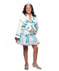 Костюм принцессы льда: кофта, платье, украшение на голову (Италия)