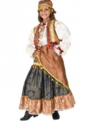 Детский костюм цыганки: головной убор, жилетка, платок, рубашка, юбка (Италия)