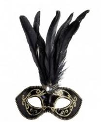 Черная маскарадная маска с золотым узором