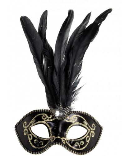 Черная маскарадная маска с золотым узором, перья, пластик (Италия)