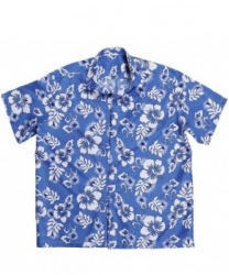 Гавайская рубашка синяя