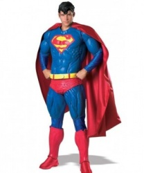 Костюм SuperMan Premium: штаны, кофта, накидка, парик, накладки на обувь, пояс (Германия)