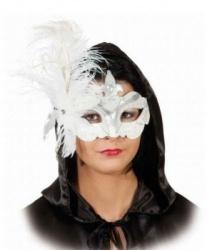 Маска белая с перьями