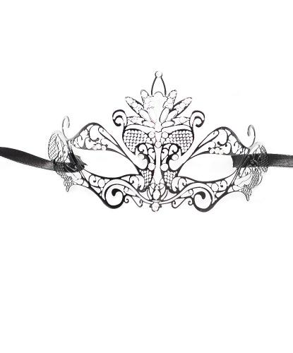 Черная маска Colombina Pavone, стразы, металл (Италия)