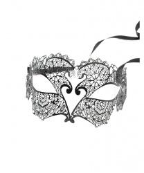 Черная венецианская маска с цветочным узором