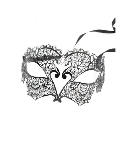 Черная венецианская маска с цветочным узором, стразы, металл (Италия)