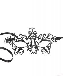 Венецианская маска черная с глиттером Bocciolo, стразы, металл (Италия)