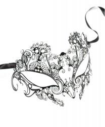 Венецианская ажурная маска, металл, стразы (Италия)