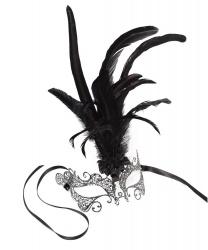 Металлическая маска Colombina Ciuffo(в ассортименте черная и серебристая)