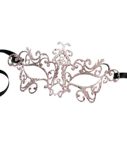 Венецианская маска розовая Bocciolo, стразы, металл (Италия)
