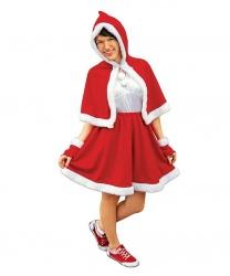 Женский костюм на Новый год: юбка, накидка с капюшоном, митенки (Польша)
