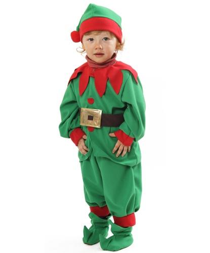 Детский костюм помощника Санта-Клауса: кофта, пояс,капри, колпак, накладки на ботинки (Германия)