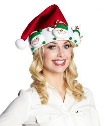 Новогодний колпак со снеговиками - Новогодние колпаки, арт: 4575