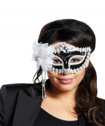 Черная маска с белым цветком, стразы, полиэстер, перья, пластик, пайетки (Германия)
