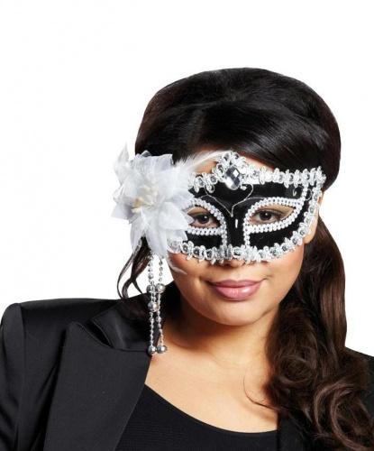 Черная маска с белым цветком, пайетки, стразы, пластик, перья, полиэстер (Германия)