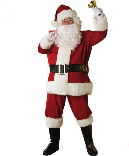 Взрослый костюм Санта-Клаус: штаны, полушубок, колпак, накладки на обувь, пояс, борода и парик (Италия)