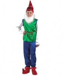 Детский костюм гнома (зеленый с синими брюками)