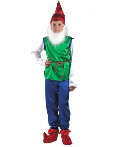 Детский костюм гнома (зеленый с синими брюками): рубаха с поясом, брюки, колпак, накладки на обувь, борода (Россия)