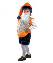 Детский костюм гнома (оранжевый): шорты, безрукавка, колпак, борода (Россия)