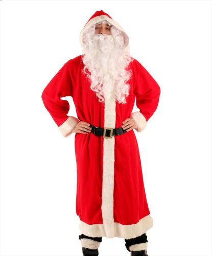 Костюм Санта Клауса (Super Deluxe): шуба с капюшоном, пояс, накладки на обувь, борода и парик, брови (Италия)