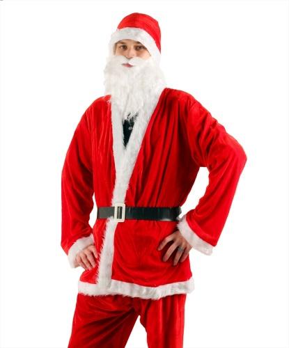 Костюм для Санта Клауса: брюки, кофта, борода, колпак, пояс (Германия)
