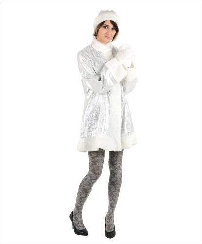 Серебристая шуба снегурочки: варежки, головной убор, шуба (Россия)